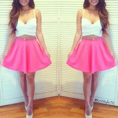 @Kristy Lumsden Lumsden Lumsden Le | Under wrap twist top and hot pink skater skirt courtesy of @Jenny Phong