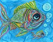 Momma & Baby Fish Gallery Wrap Canvas Art Print-Fish Art-Art Fish-Coastal Decor-Beach Art-Sea Life-Colorful Fish Art-Nautical Art-Art Print