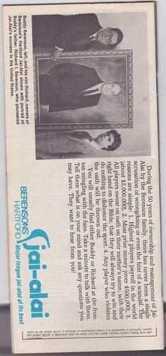 Berensons Hartford Jai Alai Program November 4 1984   eBay