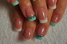 All turquoise tips with turquoise gems
