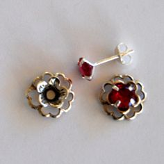 Ruby Red Silver Post Earring Set - Includes Ruby Red Cubic Zirconia Posts and Sterling Silver Flower Style Earring Jacket by EarringConvertiblez, $10.00