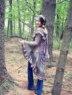 Ravelry: Lotus Mandala Duster pattern by Regina Weiss Knitted Flower Pattern, Crochet Tunic Pattern, Knitted Flowers, Afghan Crochet Patterns, Crochet Afghans, Crochet Circle Vest, Crochet Circles, Crochet Jacket, Crochet Cardigan
