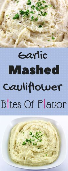 Garlic Mashed Cauliflower-Only a few ingredients to make this easy, delicious, comfort food in a bowl. Weight Watcher friendly recipe. www.bitesofflavor.com