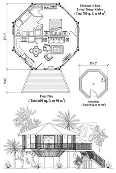 Octagon house floor plan 800 sq ft 2 bedrooms 2 baths for Honeycomb house floor plan