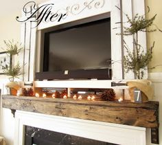 DIY:   $40 Mantel Upgrade -  mantle is given a chunkier look with pine. Tutorial with lots of pics!