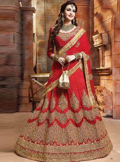 Red Silk Circular Lehenga Choli 96275