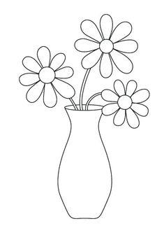 Flower Vase Images, Flower Pictures, Flower Vases, Flower Vase Drawing, Flower Line Drawings, Printable Flower Coloring Pages, Coloring Pages For Kids, Hilograma Ideas, Decor Ideas