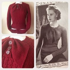 Pretty as a Picture 1930s Jumper - from Stitchcraft, November 1937 - reproduction knit with vintage buttons
