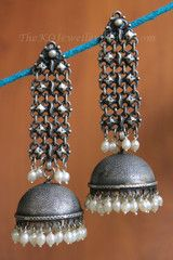 The Damini Silver Jhumka