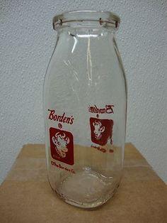 Bordens Dairy Milk Bottle Half Pint Elsie the Cow Milk Jars, Old Milk Bottles, Vintage Milk Bottles, Baby Bottles, Glass Bottles, Elsie The Cow, Half Pint, Dairy Queen, Bottle Art