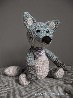 Crochet grey fox. (Inspiration only).