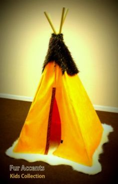 Fur Accents 6 Foot Childrens Play Tent / Golden Sunflower Yellow Teepee / Great for Indoor and Outdoor Use Childrens Play Tents, Kids Tents, Indian Teepee, Teacher Discounts, Women Camping, Best Friend Shirts, Play Houses, The Incredibles, Faux Fur
