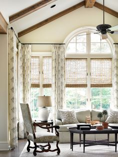 Vaulted ceilings, fabrics, window treatments- Holt Interiors