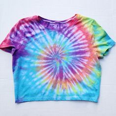 Tie Dyed Crop Top Shirt Rainbow Tye Dye Tumblr Rave Crop Top Size S ($25) ❤ liked on Polyvore featuring tops, t-shirts, black, women's clothing, shirt crop top, tye dye shirts, crop shirts, tyedye shirts and rainbow shirt