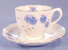 Bell China Hand Painted Blue Flowers Vintage Bone China Tea Cup, Saucer and Tea Plate Trio