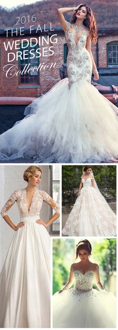 The 2016 fall wedding dresses has arrived; the styles vary from long sleeves, big ball gown, illusion to slender silhouette and airy skirt. These bridal gowns are perfect for fall-winter seasons.