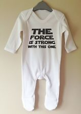 THE FORCE IS STRONG STAR WARS RETRO ONESIE BABY GROW GRO SLEEPSUIT GIRL BOY