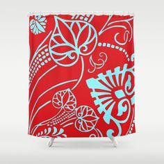 The Fans Shower Curtain by Vikki Salmela - $68.00 #new #red #aqua #paisley #gypsy #modern #art on #shower #curtains for #bath #bathroom #bathtub #home #decor #apartment by #vikkisalmela.