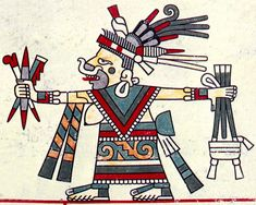 Mayan goddess Quechquemitl with her spindles and weaving tools in her headdress and hands.  261_04_2.jpg (751×600)