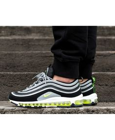 49d6dbba72e1 Nike Air Max 97 Mens Black Volt Metallic Silver White Trainer