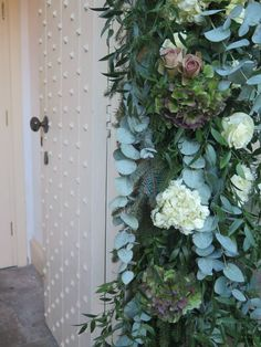 Arch detail - Off white hydrangea, antique purple hydrangea, memory lane roses, polo roses