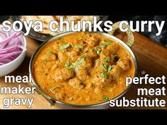 meal maker curry recipe, soya chunks recipe, soya chunks gravy with step by step photo/video. meat curry alternative, prepared with soybean or meal maker. Veg Pulav Recipe, Rajma Recipe, Soya Chunks Recipe, Soya Recipe, Paneer Tikka Masala Recipe, Butter Masala Recipe, Pakora Recipes, Paneer Recipes, Bean Recipes