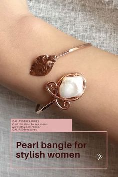 Rose gold bracelet for women, this dainty pearl bangle is perfect for a bride or as Christmas, Valentine, anniversary or birthday jewelry gift for wife, girlfriend, friend, mom, sister, and sister in law. Visit the website to see more.