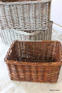 Dry brushing the baskets give a nice look.  Maison Decor: Bathroom Latest: baskets, vanity and fabrics