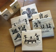 wooden coasters with warli drawings use permanent texta on gloss tiles? white glaze on terracotta bisque tiles? Worli Painting, Pottery Painting, Fabric Painting, Coaster Art, Tea Coaster, Madhubani Art, Madhubani Painting, Kalamkari Painting, Indian Art Paintings