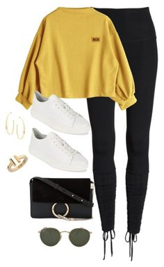 """""""Untitled #4279"""" by magsmccray ❤ liked on Polyvore featuring Beyond Yoga, Calvin Klein, Chloé, Ray-Ban, Lana and Tiffany & Co."""