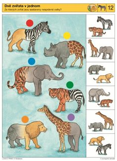 V zoologické zahradě - 2 Preschool Printables, Preschool Worksheets, File Folder Activities, Activities For Kids, Jungle Animals, Animals And Pets, Teaching Kids, Kids Learning, Tier Puzzle
