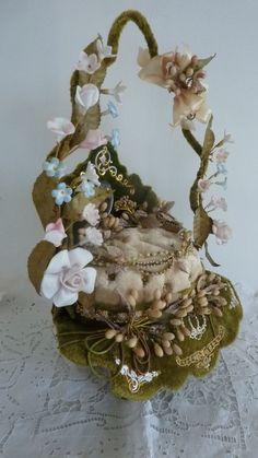 French wedding display basket wax crown porcelain roses