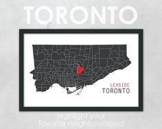 "TORONTO Neighbourhood Map - 11 x 17"" Print."
