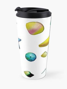 'Colorful Sea Shells ' Travel Mug by AElenaS Mug Designs, Travel Mug, Sea Shells, Mugs, Tableware, Color, Dinnerware, Seashells, Tumblers