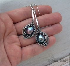 """Купить серьги """"CLARISE"""" (серебро, барочный жемчуг) - серебряные украшения, серебряные серьги, серьги длинные"""