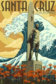 Santa Cruz, California USA vintage travel poster surfing