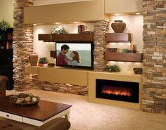Combinación moderna con chimenea revestida con piedra artificial. Puedes…