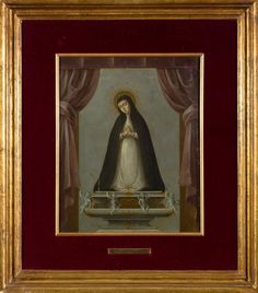 Nicolás Enríquez (México) Virgen de la Soledad de La Victoria, óleo sobre tabla, 34 x 27 cm., 1761, colección particular, catalogación: Juan Carlos Cancino.