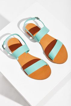 BDG Leyla Sandal in turquoise leather - Urban Outfitters Sock Shoes, Cute Shoes, Me Too Shoes, Color Menta, Mint Color, The Last Summer, Shoes Sandals, Heels, Jesus Sandals