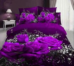 Babycare Pro Rose and Gypsophila Paniculata Print Bedding Sets/Fitted Sheet Sets,Duvet Cover Sets Cotton 4 Pillowcases, 1 Duvet/Quilt Fitted Sheet,No Comforter)) (King) Red Bedding Sets, 3d Bedding, Teen Bedding, Floral Bedding, Luxury Bedding Sets, Purple Bedding, Bedding Decor, Comforter Cover, Comforter Sets