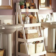 Bathroom Storage Solutions - 10 Clever Ideas You Need To Clever Bathroom Storage Solutions. What home couldn't use more storage in the bathroom! Check out these creative bathroom storage ideas! Clever Bathroom Storage, Bathroom Storage Solutions, Diy Casa, Bathroom Organization, Bathroom Ideas, Organization Ideas, Bathroom Ladder, Bathroom Shelves, Master Bathroom