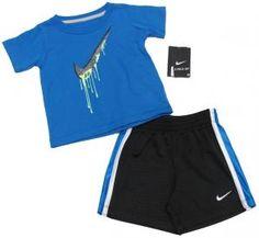 Nike Baby Boys Swoosh 2-Piece Blue Tee Shirt and Black Gym Shorts Set