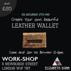 Hey, I'm running a mini wallet making workshop at my pop up store today, the shop is just off Carnaby street, 6 Newburgh street W1F 7RT, come along & say hi. It's drop in anytime between 12-6pm 30 minuet sessions. More info on my FB page. Would be great to see you. Lizzy x