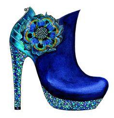 Illustrated fashion shoe Watercolor Fashion por sunnygu en Etsy