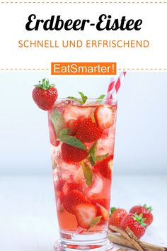 Strawberry ice tea Erdbeer-Eistee Making iced tea yourself is easy. Try this refreshing strawberry iced tea with mint - smarter - time: 15 min. Cocktails, Cocktail Drinks, Cocktail Recipes, Fruit Smoothies, Smoothie Recipes, Snack Recipes, Drinks Alcohol Recipes, Non Alcoholic Drinks, Healthy Eating Tips