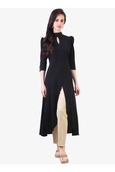 9f459f22c5464 Women s Designer Party Wear Collection Black Plain Cotton Top Dresses Tunic  Kurtis Kurta With Chinese Collar ( Free Size ).