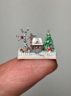 OOAK Miniature Dollhouse Christmas Putz Cabin Micro Woodland Scene H. Allen  | eBay