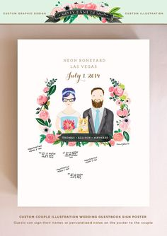 Wedding Guest Sign Poster, Custom Couple Illustration Portrait by mintybasildesign
