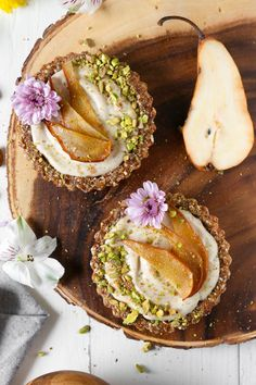 Vegan Vanilla & Pear Custard Tarts For Two | Gluten-Free, Oil-Free, Dairy-Free | The Plant Philosophy