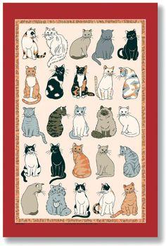 Cats Galore Linen Tea Towel Who loves cats??? #animals #cats #love